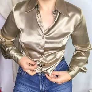 70s Necessary Objects Gold Satin Button Down Shirt